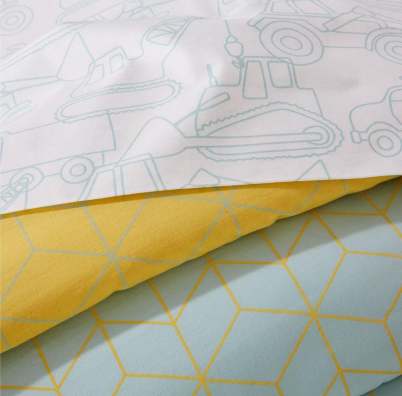 Organic Geo Tile Twin Mint Duvet Cover