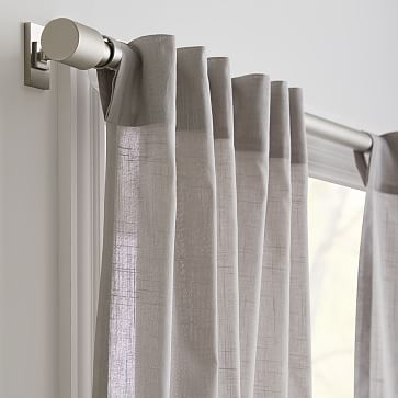 "Sheer Crosshatch Curtain, Stone Gray, 48""x108"", Set of 2"