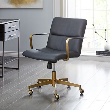 Cooper Mid-Century Office Chair, Saddle Leather, Nut