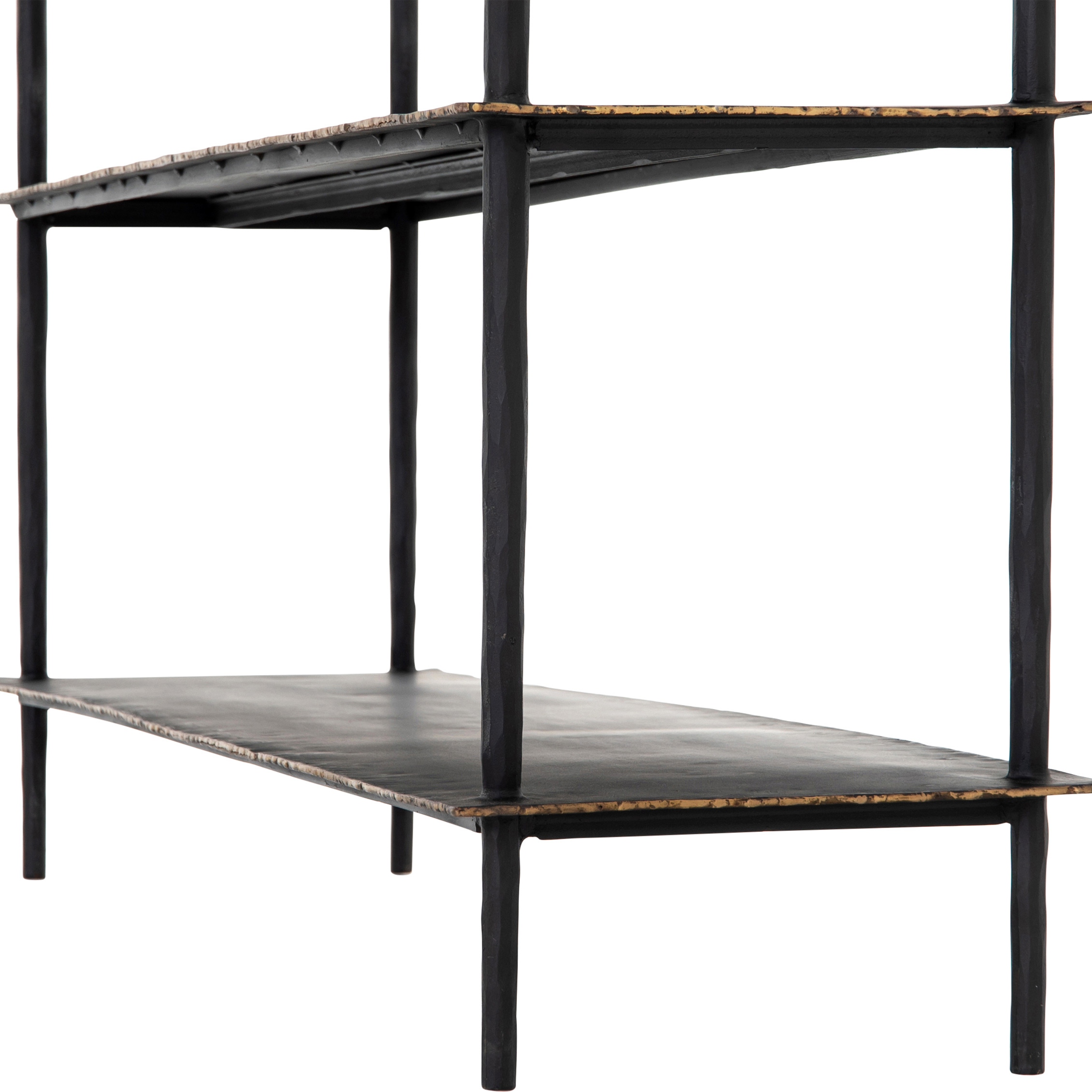 Tyson Industrial Loft Distressed Black Shelves Console Table