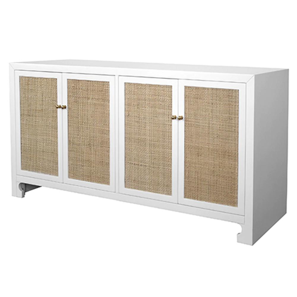 Erwin Coastal Beach Natural Woven Cane Doors White Wood Sideboard