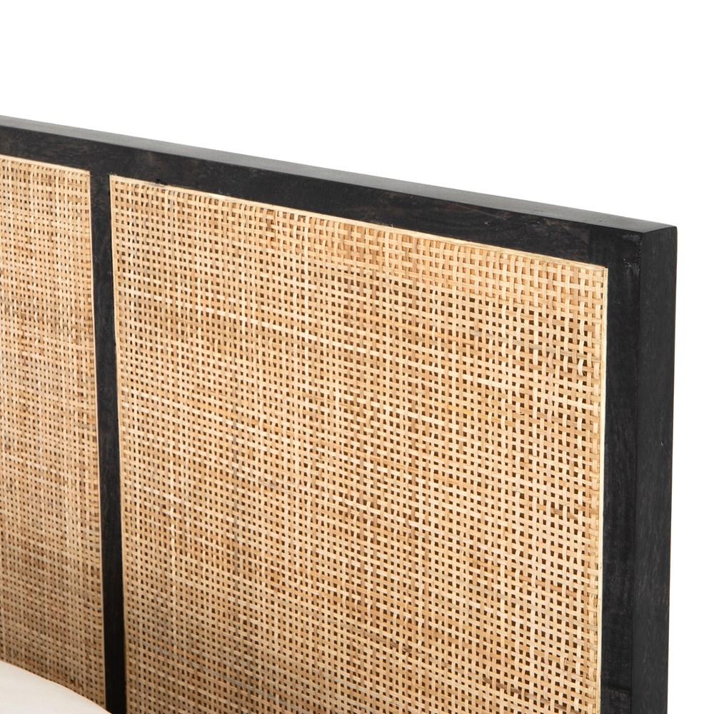 Rhian Coastal Beach Black Woven Cane Mango Wood Bed - King