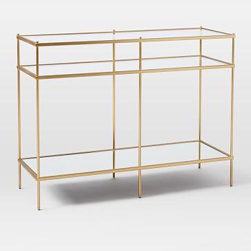 Terrace Console, Glass/Mirror/Antique Brass