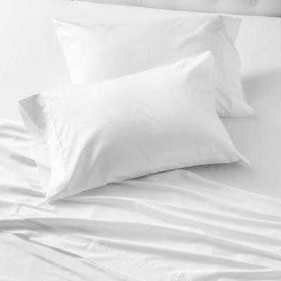 WELHOME The Smooth Cotton Tencel Sateen White Full Sheet Set