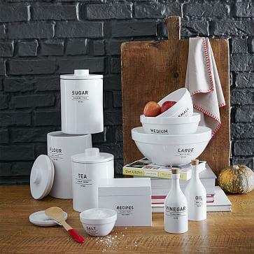 Utility Kitchen Collection, Oil + Vinegar Set, White