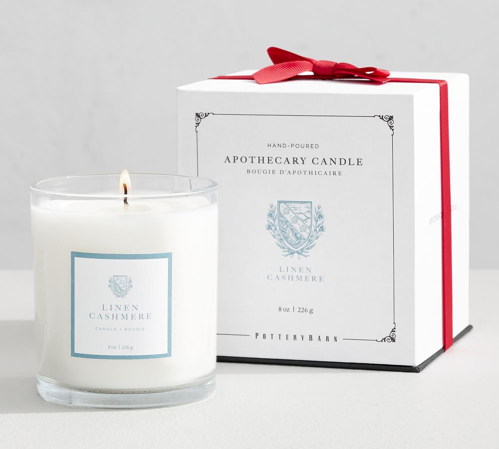Apothecary Candle Pot, Linen Cashmere, Grey, Small