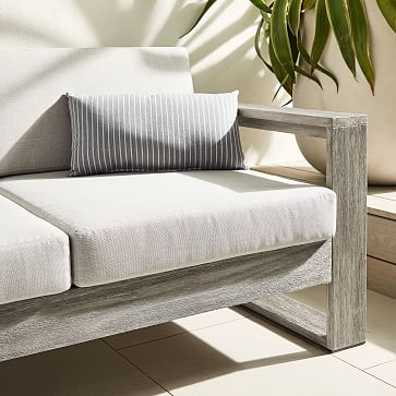 "Sunbrella Indoor/Outdoor Striped Lumbar Pillow, Cloud, 12""x21"""