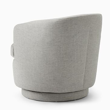 Viv Swivel Chair, Poly, Chunky Chenille, Stone White, Concealed Support