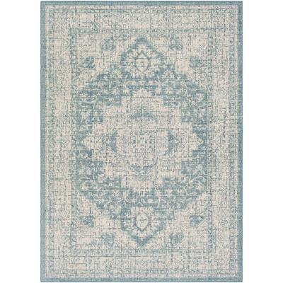 Artistic Weavers Valerio Aqua 7 ft. 10 in. x 10 ft. 2 in. Medallion Indoor/Outdoor Area Rug, Blue