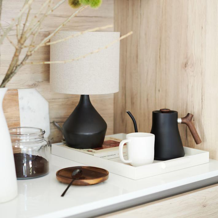 "Asymmetry Mini Table Lamp, 16.5"", Black"