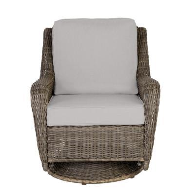 Hampton Bay Cambridge Gray Wicker Outdoor Patio Swivel Rocking Chair with CushionGuard Stone Gray Cushions