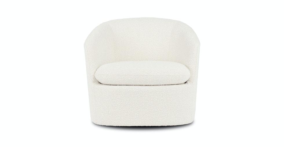 Turoy Ivory Boucle Swivel Chair