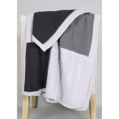 ALLIED HOME Multi-Knit Sweater Throw, Grey