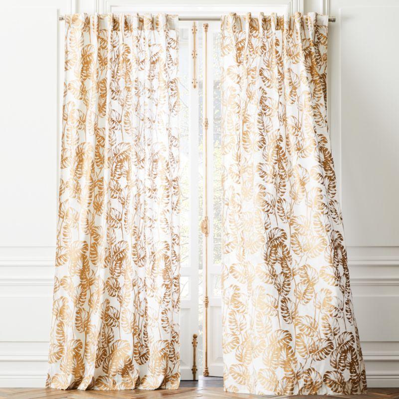 "Monstera Palm Curtain Panel 48""x120"""