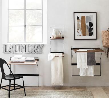 Trenton Laundry Drying Rack, Rustic Wood