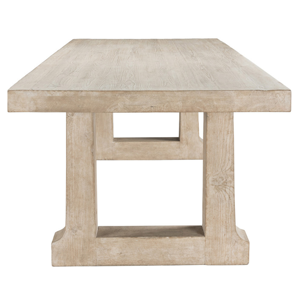 Emma Coastal Beach White Washed Pine Wood Dining Table