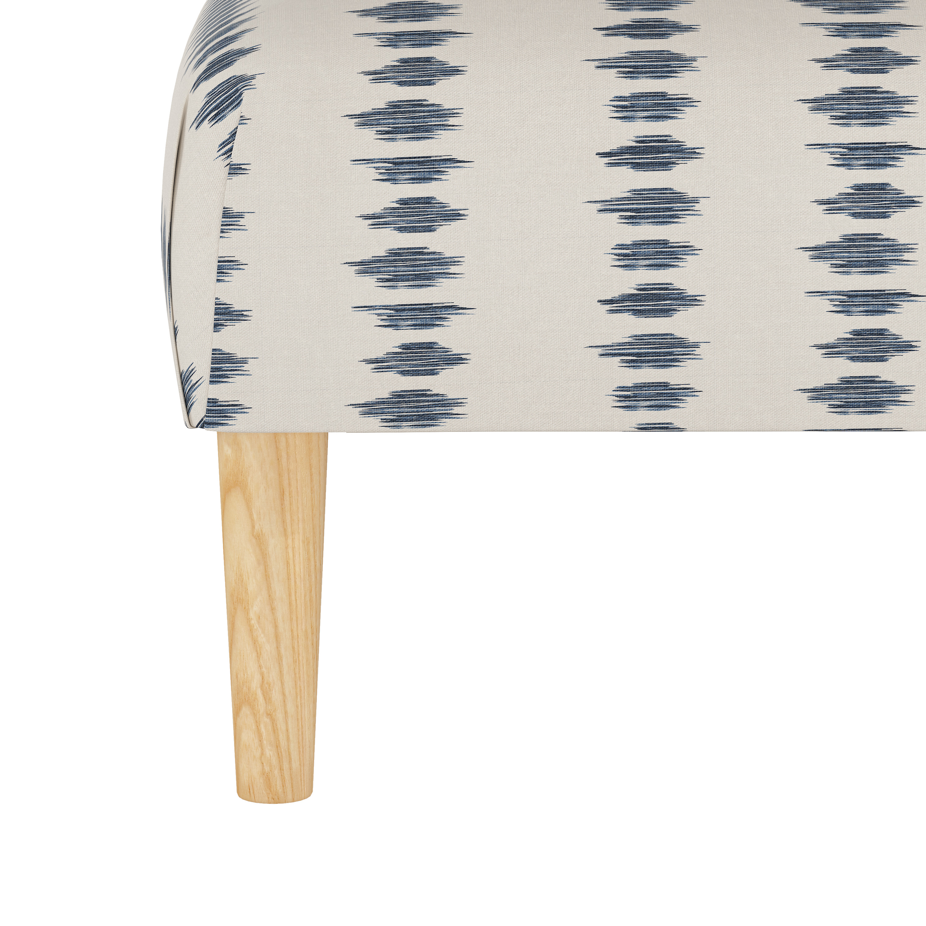 Algren Cocktail Ottoman with Cone Legs in Ikat Scribble Slate Oga