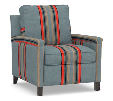 Tyler Square Arm Upholstered Recliner, Down Blend Wrapped Cushions, Sunbrella(R) Performance Pendleton(R) Yakima Park Heathered Green