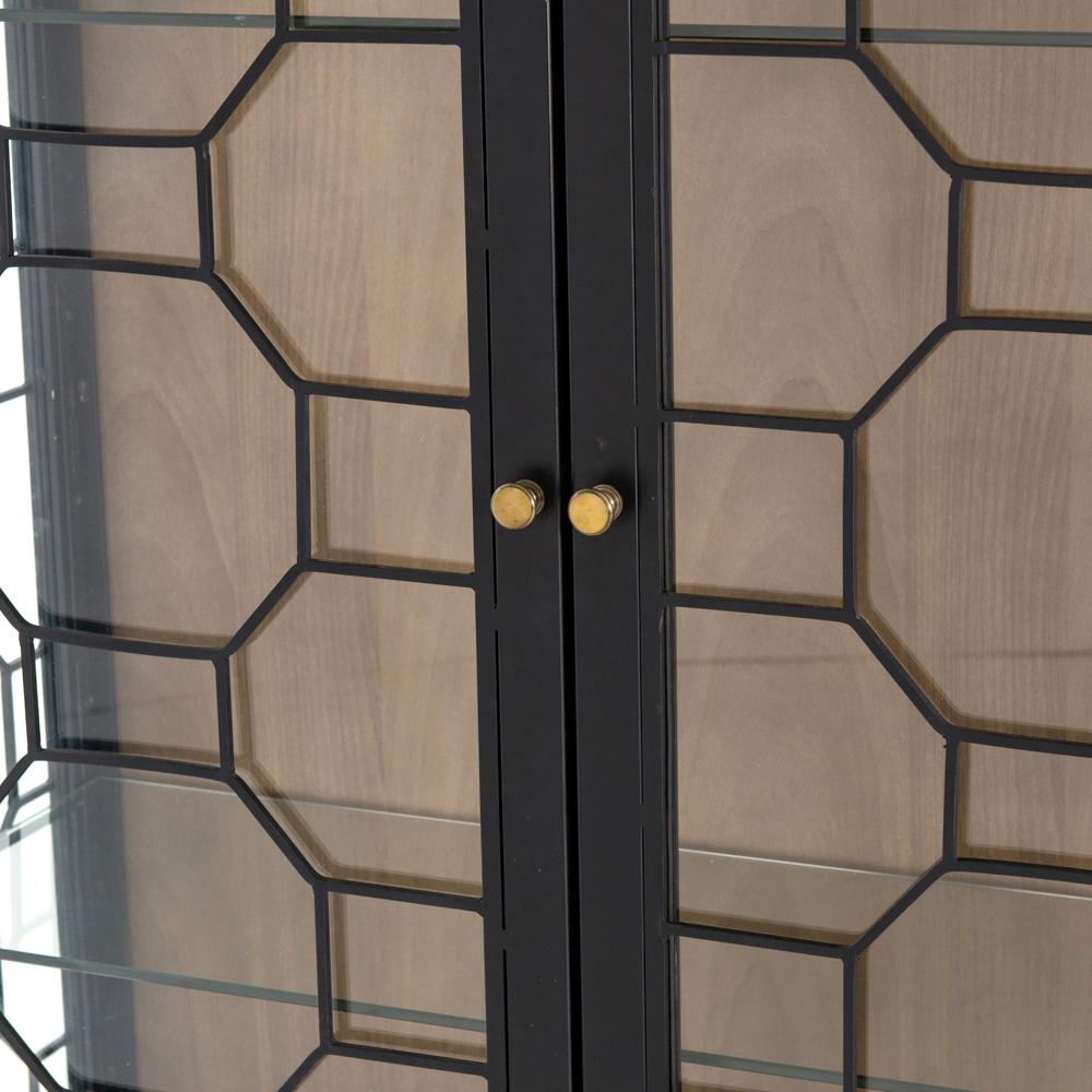 Olive Modern Black Honeycomb Metal Tempered Glass Shelves China Cabinet