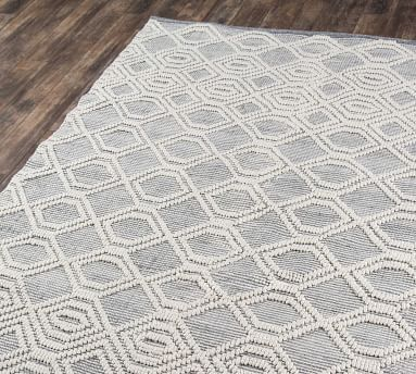 """Theros Recycled Material Rug, 8'9 x 11'9"""", Light Blue"""