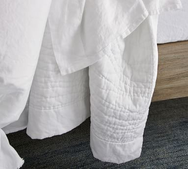 Classic Ivory Belgian Flax Linen Hand Stitched Quilt, King/Cal. King