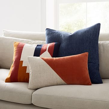 "Cotton Linen + Velvet Corners Pillow Cover, 24""x24"", Black"