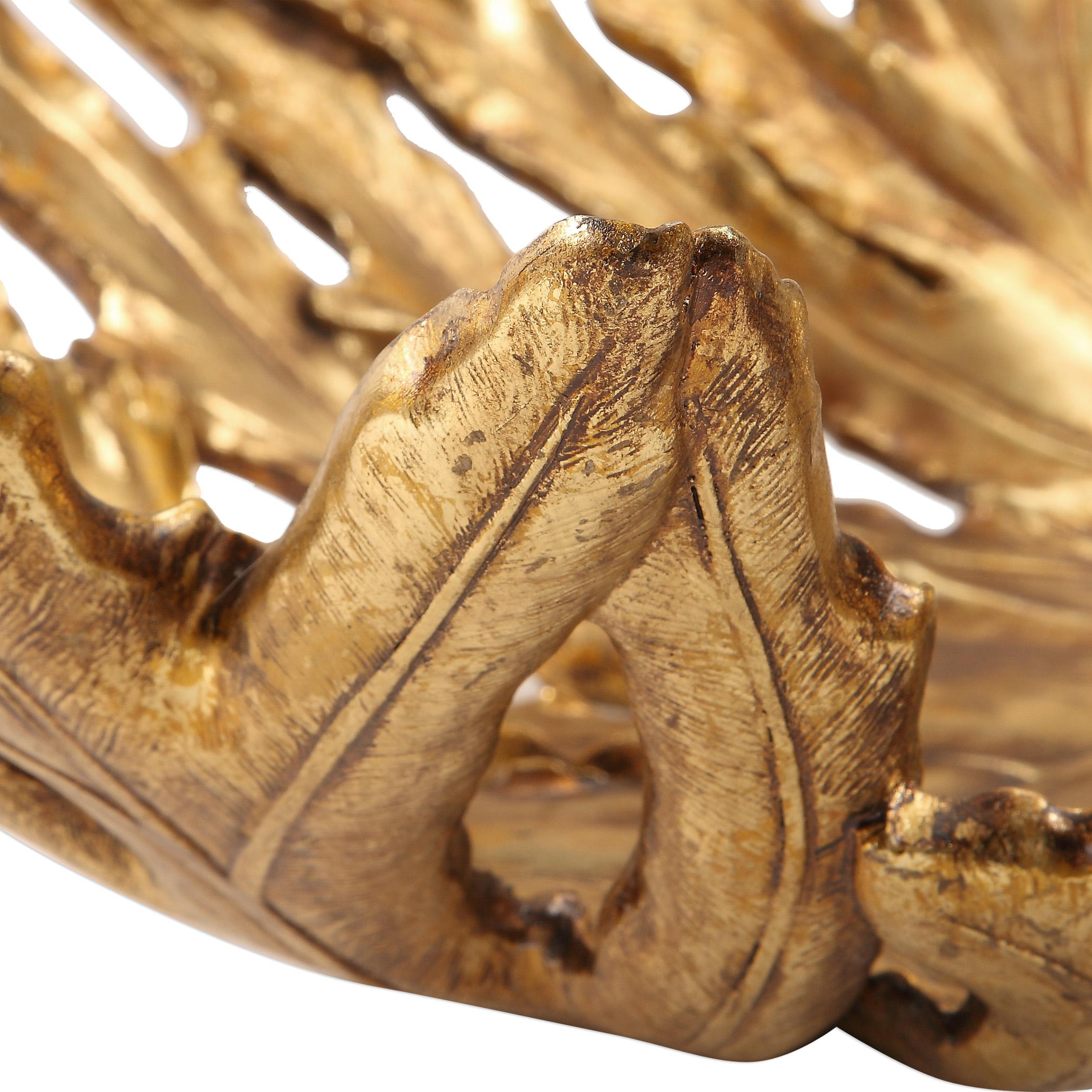 Oak Leaf Metallic Gold Bowl