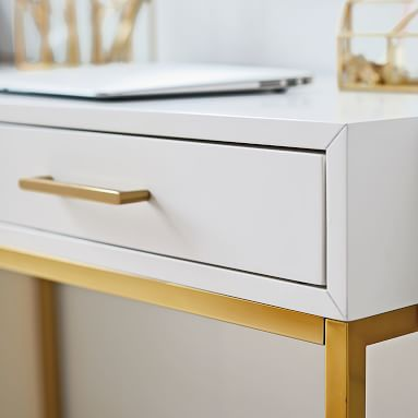 Blaire Classic Desk + Drawer Storage Set, Lacquered Simply White, White Glove Delivery