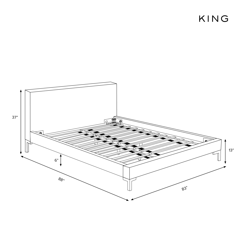 Deva Velvet Platform Bed, Navy King