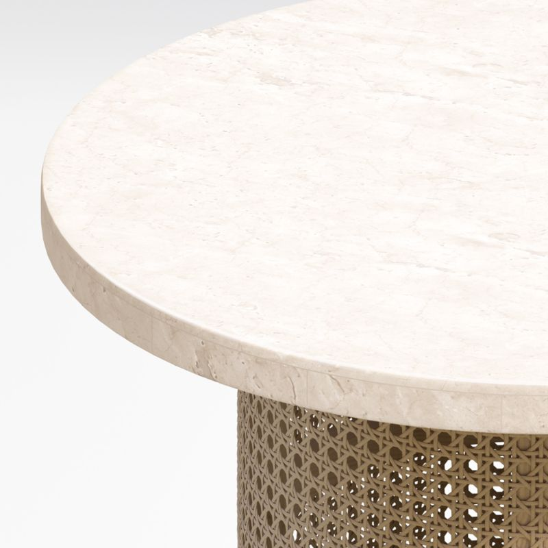 Vernet Travertine Cane End Table