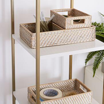 Modern Weave Basket, Whitewashed, Set of 3