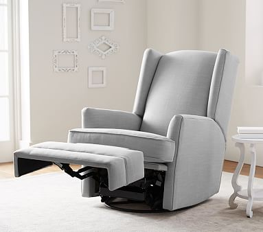 Modern Wingback Swivel Glider Recliner, Manual, Performance Brushed Chenille, Fog