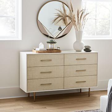 Margot 6-Drawer Dresser, Whitewashed, Light Bronze