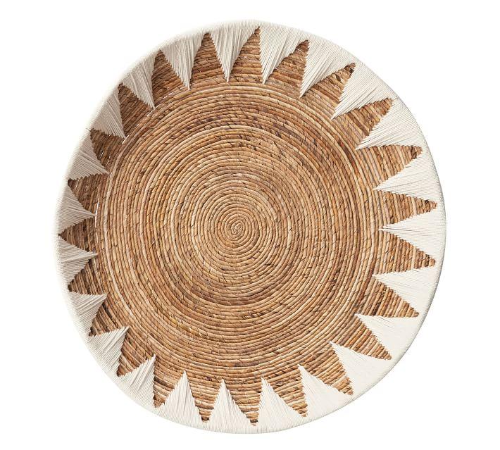 Sunny Handwoven Basket Wall Art, Natural & White, Set of 2
