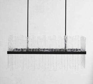 Sander Staggered Glass Rectangular Chandelier, Bronze