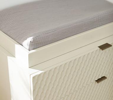 west elm x pbk Matelasse Changing Pad Cover, Stone White + pad insert