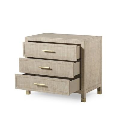 Majorca 3 Drawer Nightstand, Dove, Antique Brass