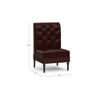 Hayworth Leather Corner Banquette, Black Legs, Statesville Pebble