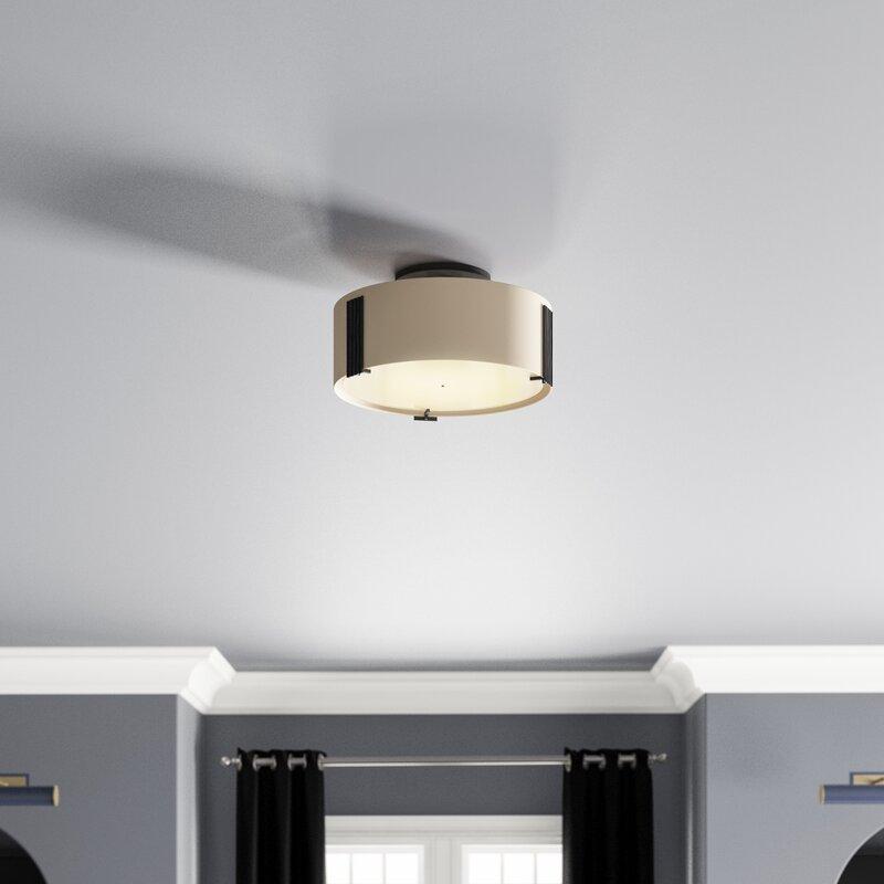 Hubbardton Forge Impressions 1 Light Semi Flush Mount Finish Black Shade Color Opal Bulb Type 1 75w G 9 Halogen Bulb Perigold