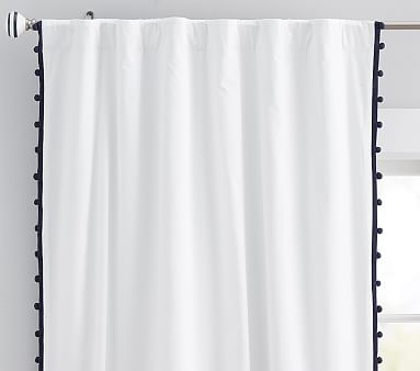 Cotton Pom Blackout Panel, 84 Inches, Gray, Set of 2