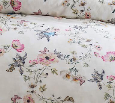 Monique Lhuillier Tuileries Organic Percale Duvet Cover, Full/Queen