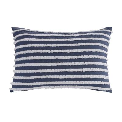 DONNA SHARP Trellis Blue Striped Polyester 12 in. x 18 in. Decorative Throw Pillow, Blue White