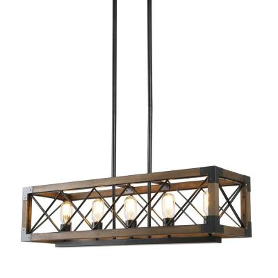 LNC Eliora 31.5 in. 5-Light Wood Island Chandelier with Painted Black Accents