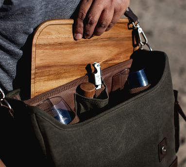 Greenpoint Waxed Canvas Picnic Bag, Set for 2