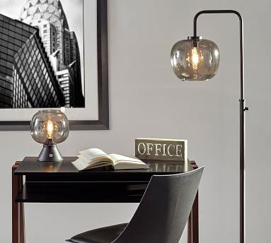 Grandview Glass Floor Lamp, Matte Black