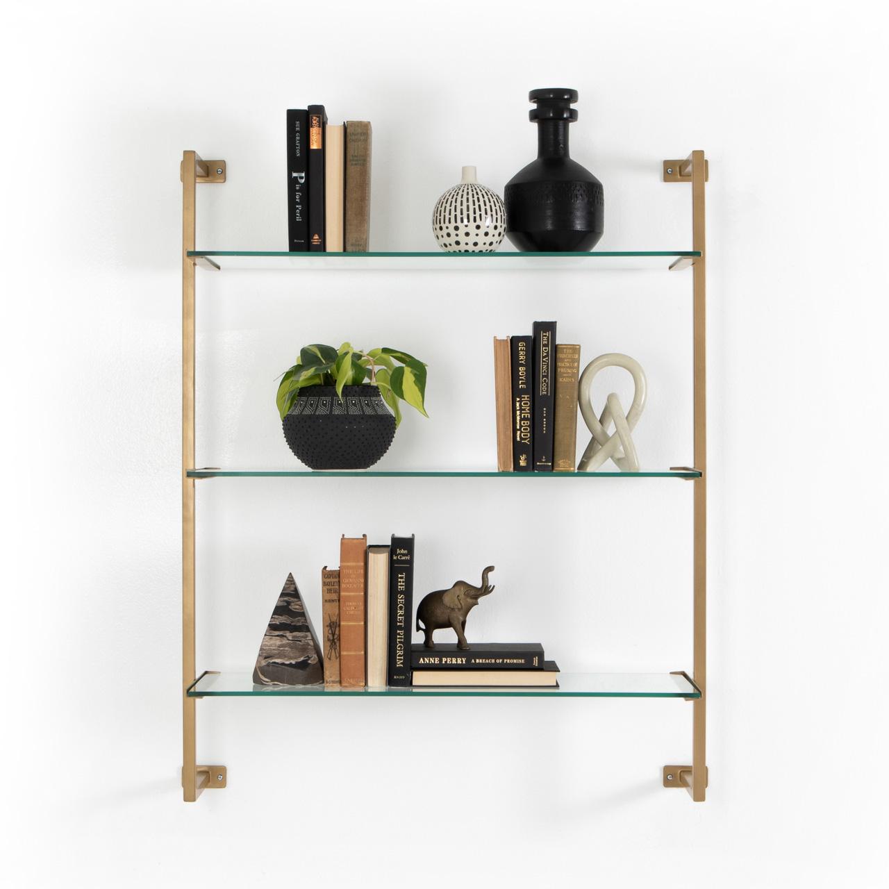 Ellen Modern Classic Gold Glass Antique Gold Metal Wall Shelf