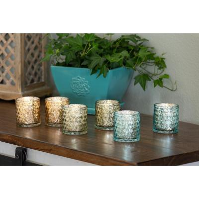 Bella & Bloom candle co. 3 in. Scented Soy Blend Mercury Glass Candles, Set of 6, Blue