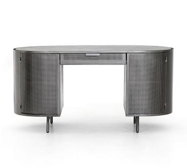 "Casoli 60"" Marble Top Desk, Gunmetal"