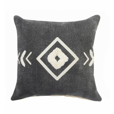 LR Home Geometric Black / White Tufted Diamond Cozy Poly-fill 20 in. x 20 in. Throw Pillow
