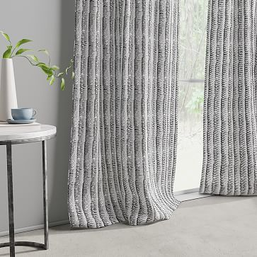 "Wave Stripe Curtain, Black, Set of 2, 48""x84"""